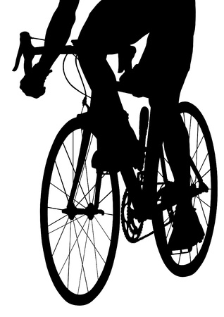 drawing silhouette of a cyclist boy Vector