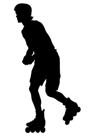 drawing boy athlete on skates Vector