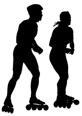 drawing girl and boy athlete on skates Vector