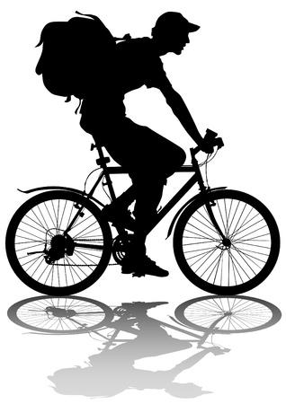 tekening silhouet van een fietser jongen whit zak Vector Illustratie