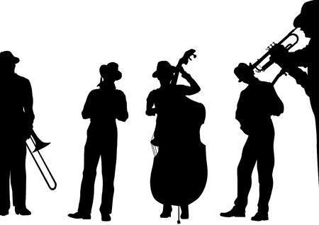 trombon: Vector músicos de jazz de dibujo en el escenario