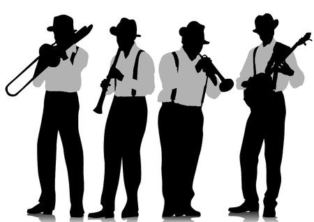 trombon: dibujo músicos de jazz en el escenario
