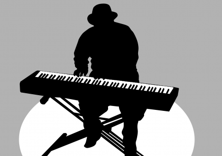 drawing of a man at piano on stage