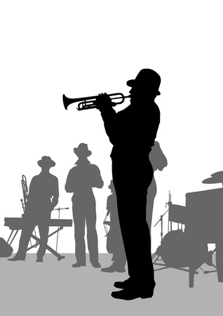 drawing jazz musicians on the stage Vector