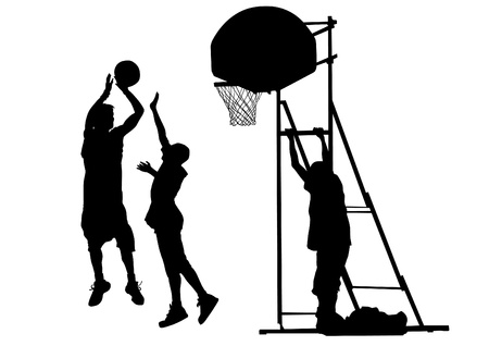 graphic basketball. Silhouette man with ball Vector