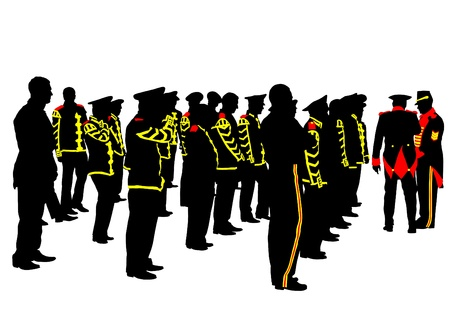 ceremonial clothing: drawing of soldiers during a military parade