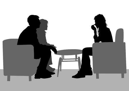 Vector tekening van de mensen praten in hun stoel Stock Illustratie