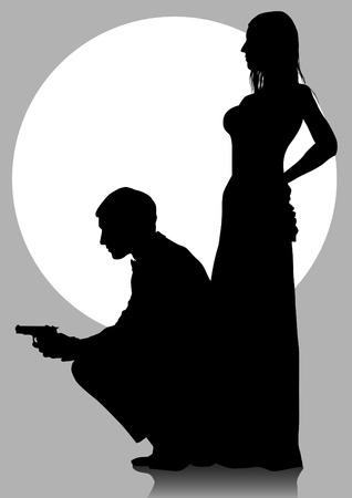 dibujo de un hombre en un traje con un arma de fuego Foto de archivo - 16251010