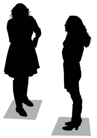prostitue: tekenen slanke en mooie meisjes Stock Illustratie