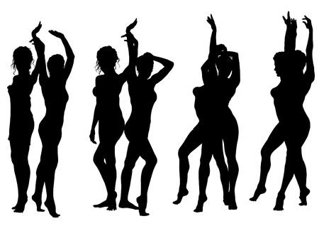prostitute: Vector drawing slim and beautiful girls in bikini