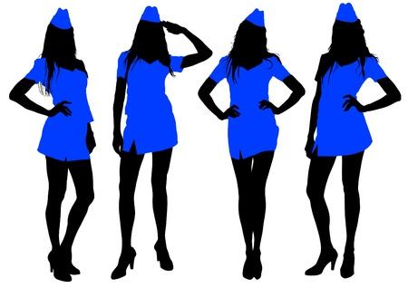 azafata de vuelo: Dibujo vectorial de una joven azafata en forma de