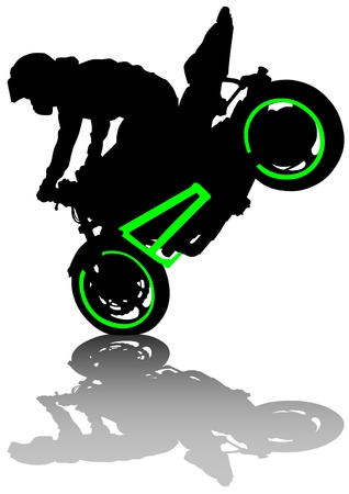motorcyclist: Vector drawing a sports extreme motorcycle