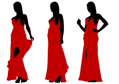 Vector image of young women with vintage dress Stock Vector - 16457645