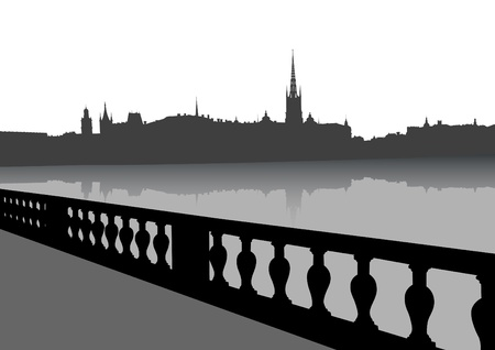 town hall: Vector drawing of old town hall on banks of river Illustration