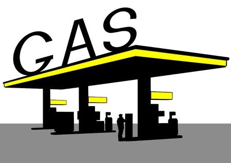 Vector rysunek budowy dużej stacji benzynowej