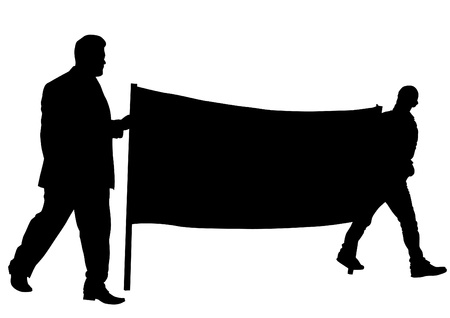 manifest: Vector drawing people whit big banner