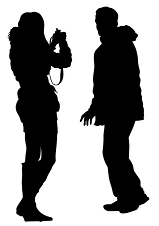 Vector image of young photographers with equipment at work Stock Vector - 16612342