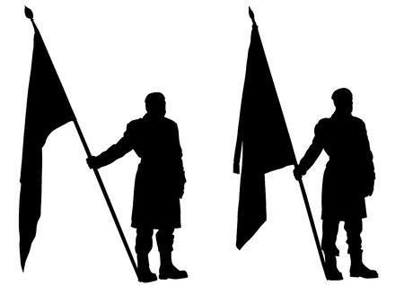 silhouette soldat: Dessin vectoriel d'un soldat avec un drapeau dans ses mains