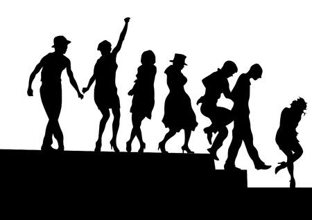 Vector tekening silhouetten van acteurs op het podium