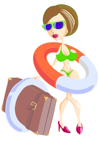 Vector drawing of a beautiful girl in a bathing suit and with a lifeline Vector