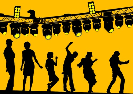 Vector drawing silhouettes of actors on stage