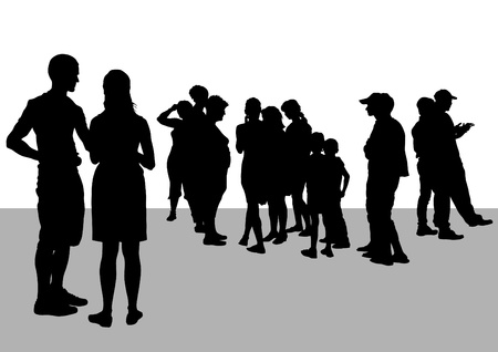 drawing silhouette crowds Vector