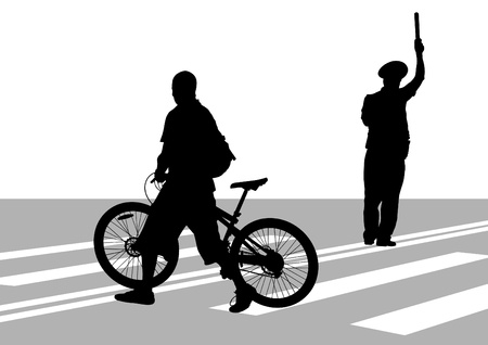 drawing silhouette of a cyclist boy Stock Vector - 16838695