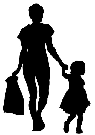drawing parents and child Vector