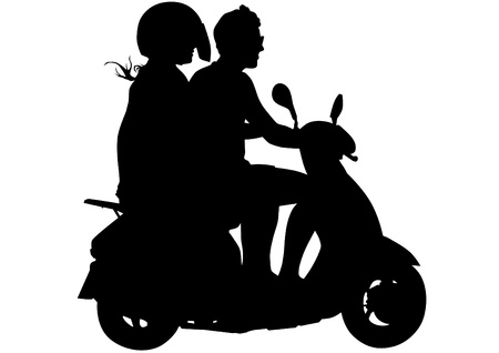 image of young men on scooters Vector