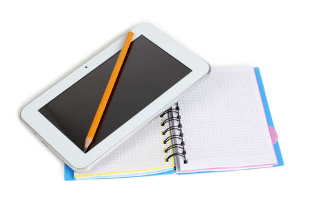 Color photo of an electronic tablet and notebook Stock Photo - 17076648