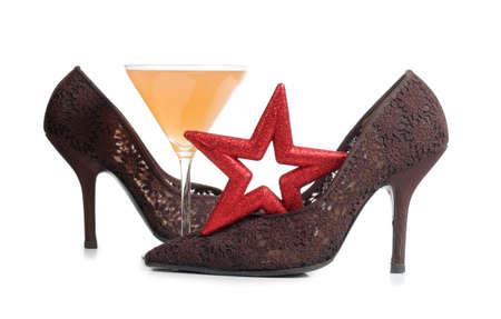 Color photo of female shoes and martini glass Stock Photo - 17142373