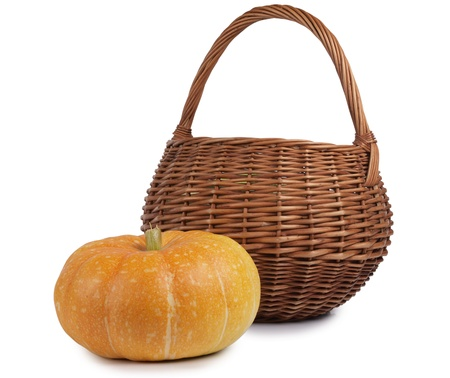 large pumpkin: Color photo of a large pumpkin and a wicker basket