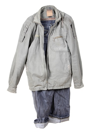 Color photo jacket and jeans on a white background photo