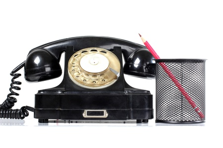 Color photograph of old black phone Stock Photo - 17665881