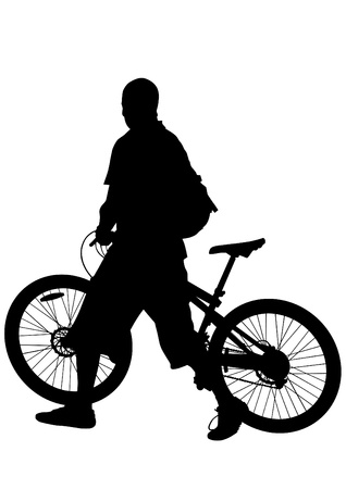 drawing silhouette of a cyclist man Stock Vector - 17665932