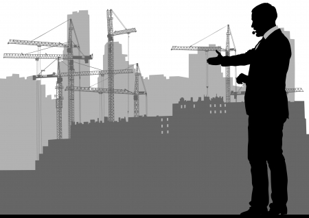 image of construction cranes and buildings Vector