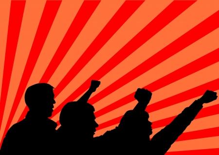 revolucionario: imagen de las personas con los pu�os cerrados Vectores