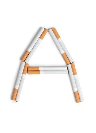 injurious: Fotograf�a en color de las letras del alfabeto de los cigarrillos