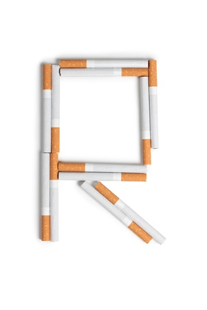injurious: Color photo of the letters of the alphabet from cigarettes