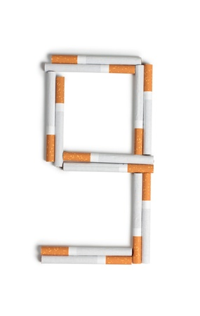 deleterious: Color photo of the letters of the alphabet from cigarettes