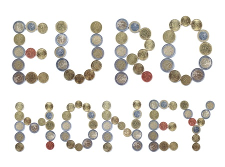 Color photograph of alphabet of euro coins photo