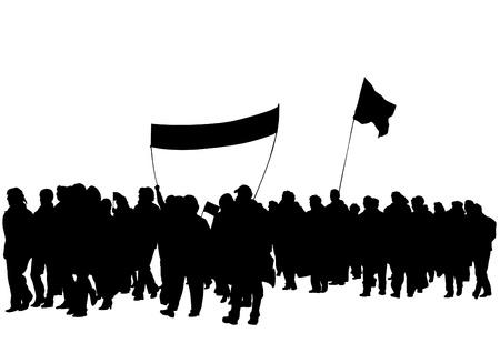 atrayendo a multitudes con pancartas y banderas