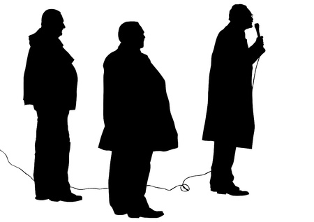 demonstrator: drawing of an adult man with a microphone