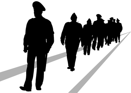 safety officer: Vector image of police in form of protective Illustration