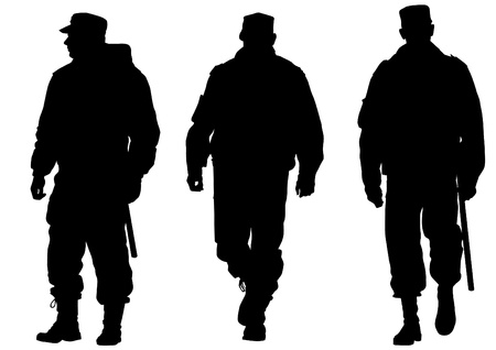 man gun: image of police in form of protective Illustration