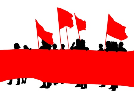 drawing crowds with banners and flags Vector
