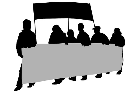 anarchist: drawing crowds with banners and flags