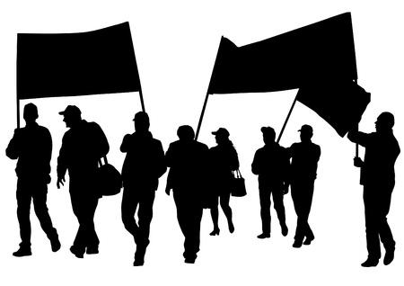 tekenen menigte met spandoeken en vlaggen Stock Illustratie