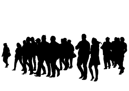 Vector drawing silhouette crowds Vector