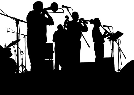 musician silhouette: Vector drawing jazz musicians on the stage Illustration